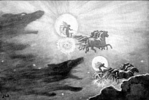 Na slici: Vukovi Skel i Hati jure Sunce i Mesec. Autor: J. C. Dollman